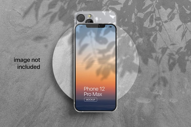 Mobile phone screen mockup with shadow overlay