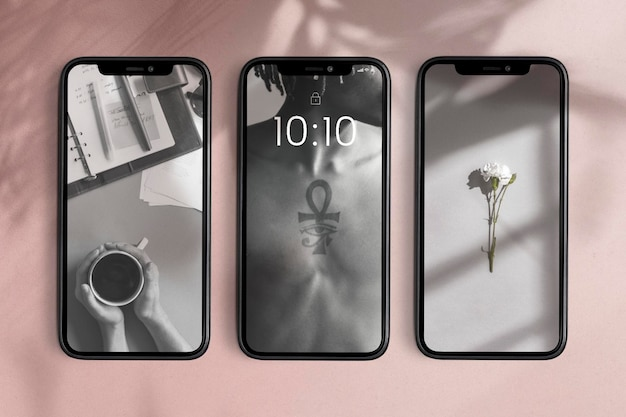 Mobile phone screen mockups psd product showcase