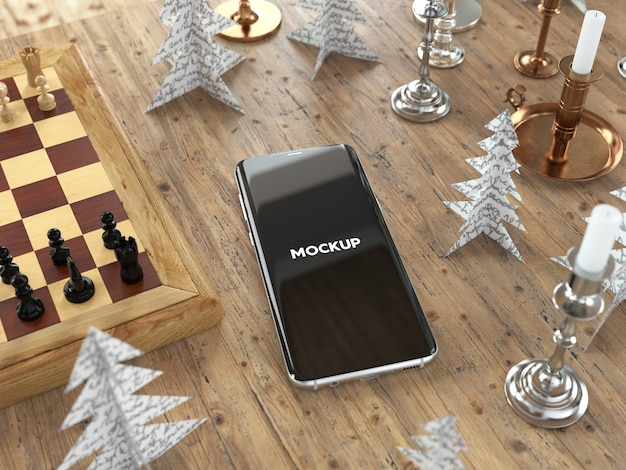 Mobile phone on table with chest mock up design