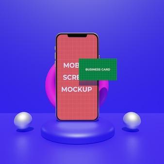 명함 모형 디자인의 휴대 전화 ui 화면