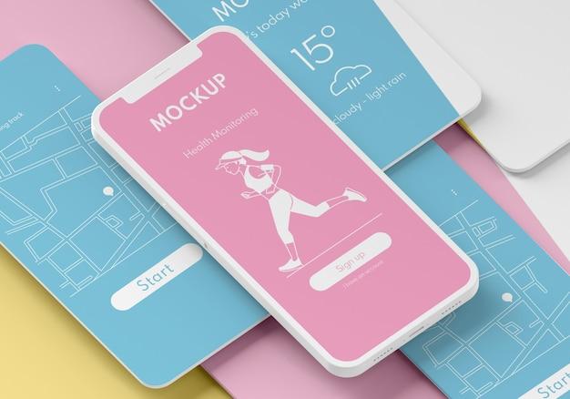 携帯電話のユーザーインターフェイスのモックアップ