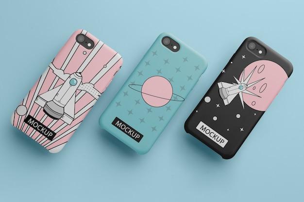 케이스 최소한의 디자인 목업이 있는 휴대폰