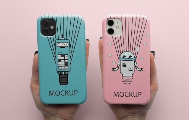 ケースミニマルなデザインのモックアップ付き携帯電話