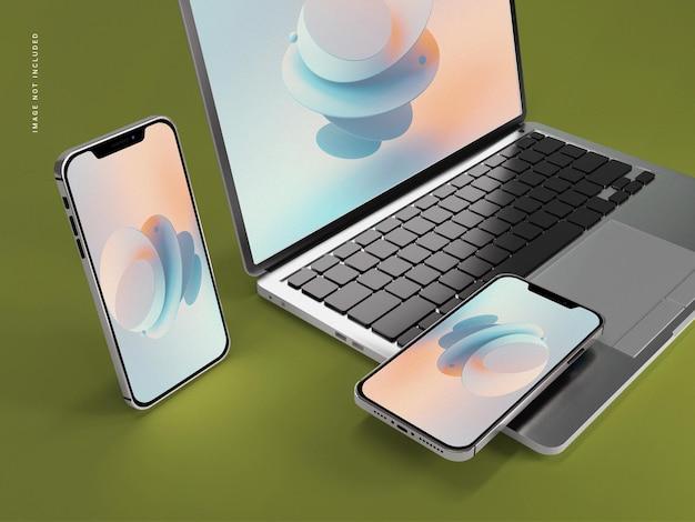 ノートパソコンのモックアップ付き携帯電話