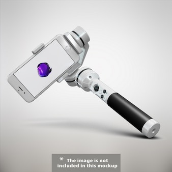 Mobile phone with selfie stick mock up