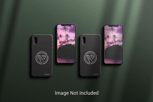 뒤표지와 우아한 그림자가 있는 휴대폰 모형