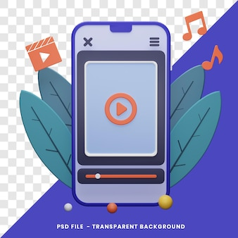 Mobile play video or music concept 3d rendering with isolated