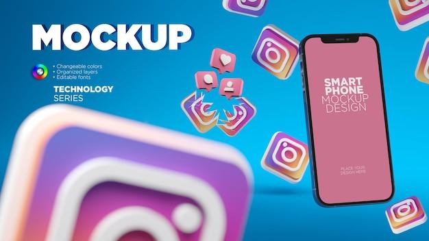 3 d instagram アイコンを使用したモバイル画面のモックアップ
