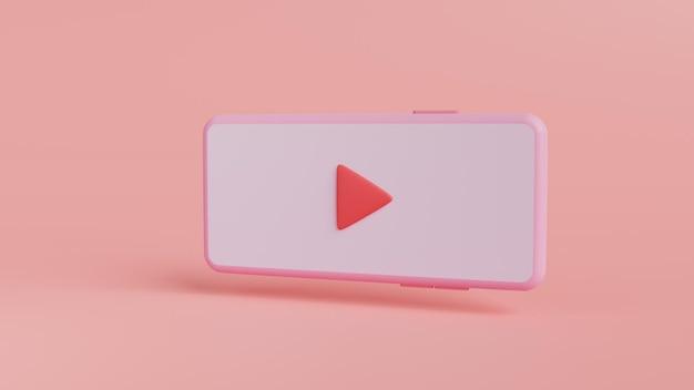 赤いボタンの3dレンダリングを備えたモバイルビデオプレーヤー