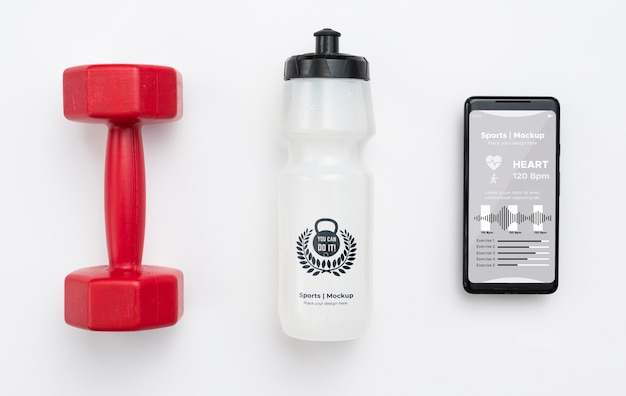 Mobile with water bottle beside