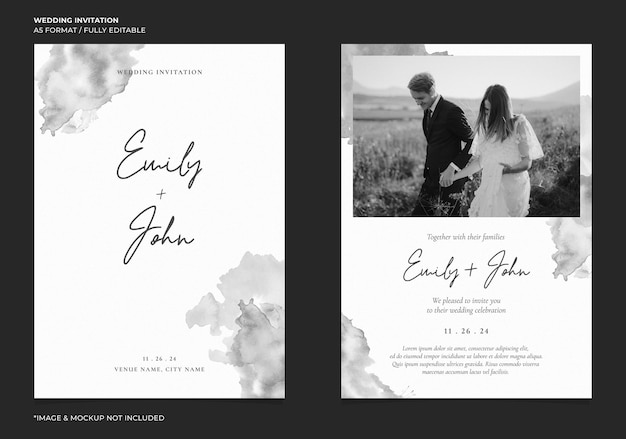Приглашение на свадьбу mochrome с абстрактным акварельным фоном