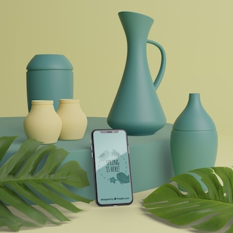 Mock-up 3d vases for flowers with phone