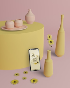 Mock-up 3d vases with phone on table