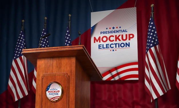 Mock-up american election podium