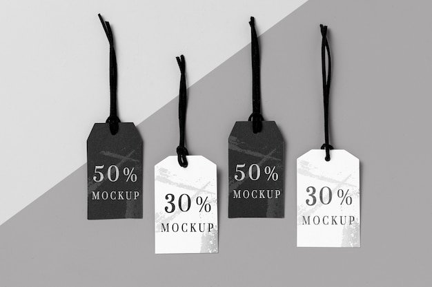 Mock-up arrangement of black and white clothing tags