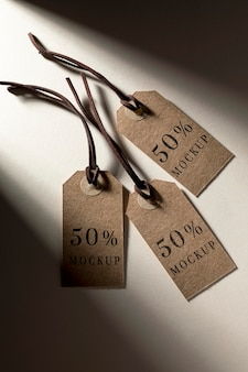 Disposizione mock-up di etichette di abbigliamento