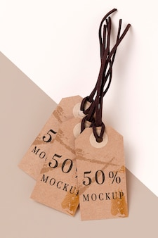 Mock-up arrangement of clothing tags