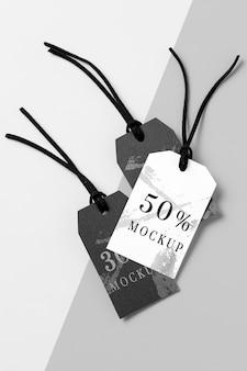 Disposizione di mock-up di etichette di abbigliamento
