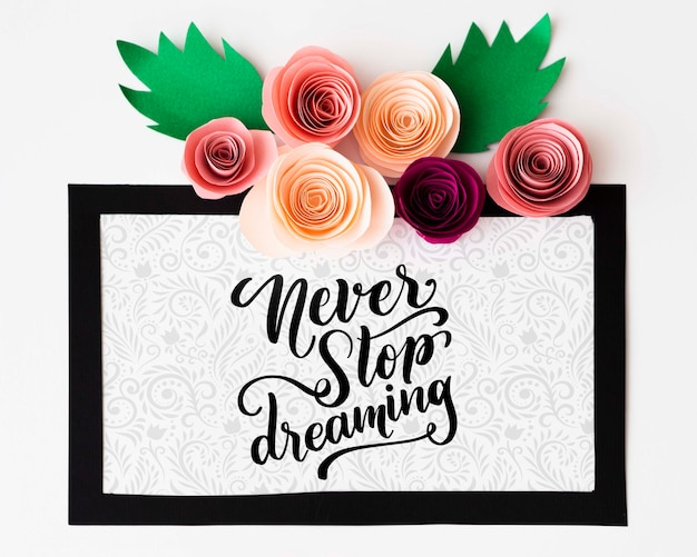 Mock-up artistic floral frame with inspirational message