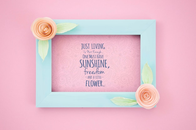 Mock-up artistic frame with positive message