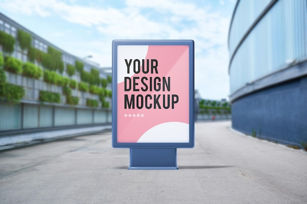 Mock-up of billboard in an outdoor mall