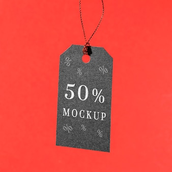 Mock-up black friday price tag hanging