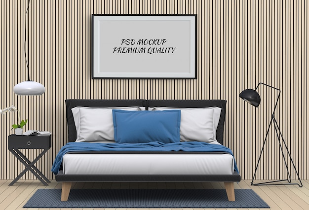 Mock up blank poster interior bed room. 3d render