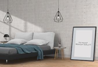 空白のポスターインテリアベッドルームをモックアップします。