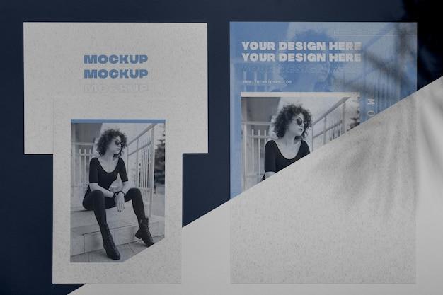 Mock up concetto di sovrapposizione ombra brochure