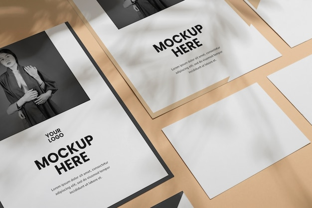 Mock up brochure shadow overlay flat lay