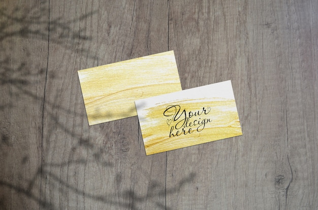 Mock up of business cards with plant shadows