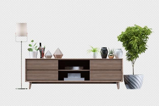 Макет шкафа в современной гостиной с кожаным креслом и растительной лампой на белом фоне стены