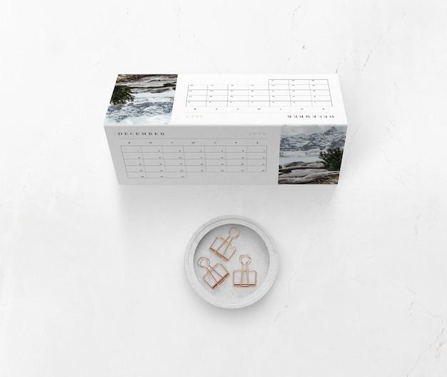 Mock-up calendar concept on cardboard