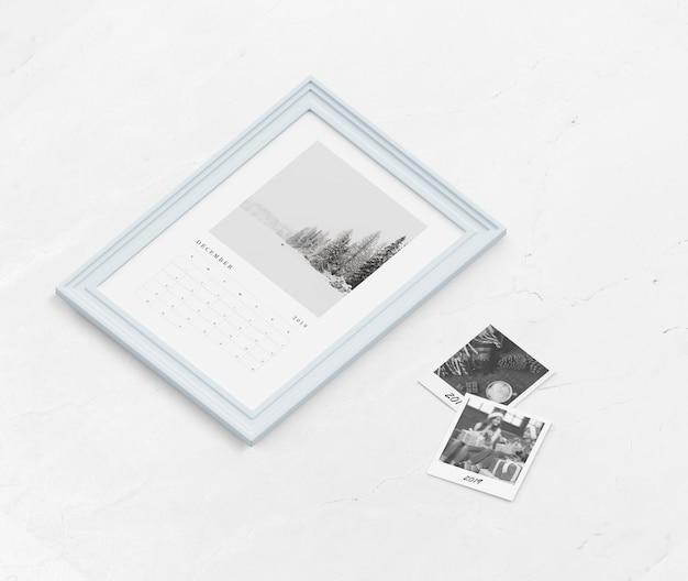 Макет календаря в рамке для рисования