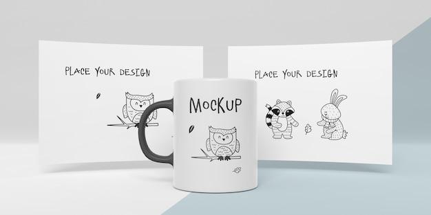 Mock-up of ceramic mug with custom design