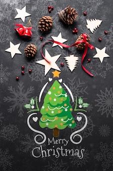 Рождественский макет с художественными оформлениями