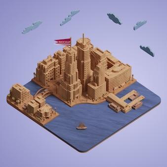 Miniatura di edifici di città mock-up