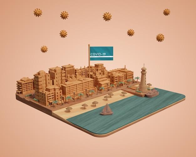 Макет модели здания города на столе