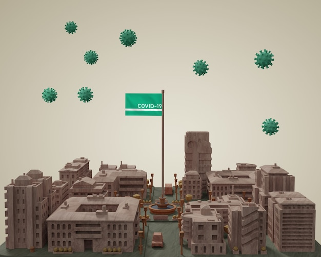 Modello di costruzione di città mock-up