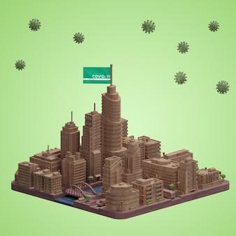 Modello di città mock-up con covid19