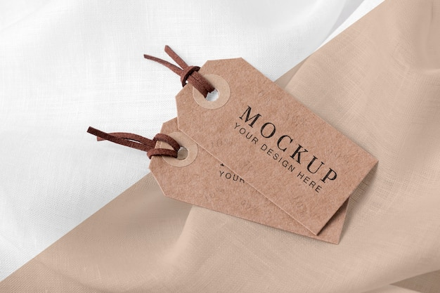 Mock-up of clothing labels on soft fabric