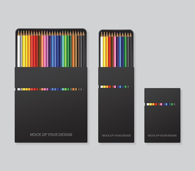 Mock up colored pencils packaging design template
