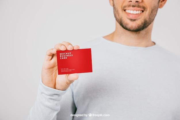 Mock up design con sorriso e biglietto da visita
