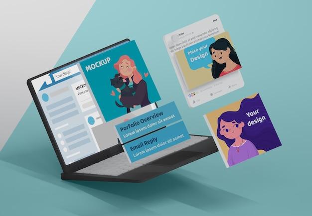 ソーシャルメディアプラットフォームを備えたモックアップデバイス
