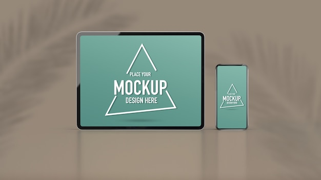 Mock up digital devices with digital tablet and smartphone on abstract background