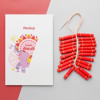 Mock-up disegno di cancelleria festival indù diwali e fuochi d'artificio
