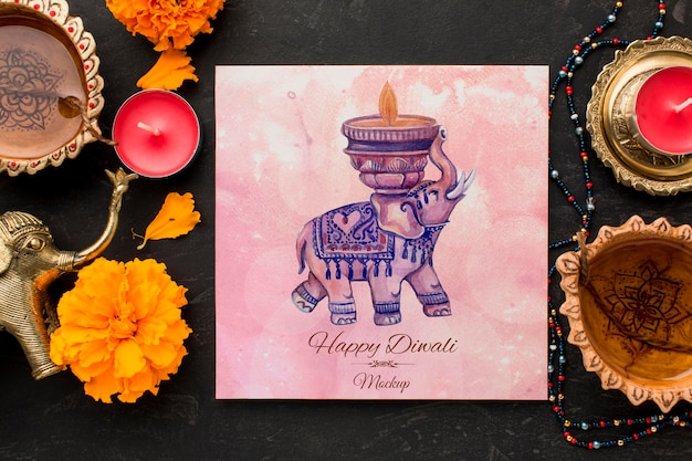 四角い紙に水彩象が描かれたモックアップディワリヒンドゥーフェスティバル