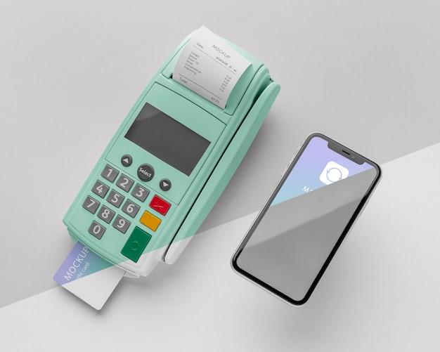 Mock-up e-payment with smartphone and payment terminal