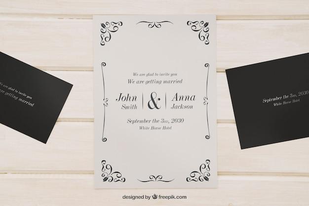 結婚式招待状のためにモックアップ