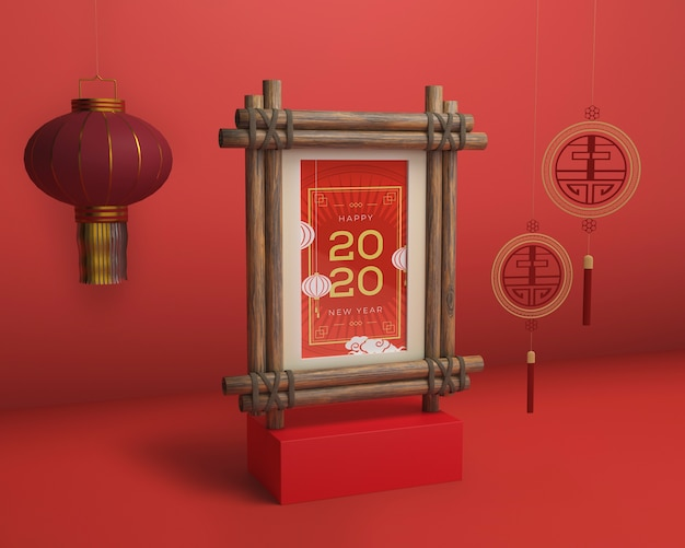Mock-up frame with new year date